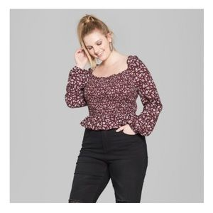 Wild Fable Floral Ruched Long Sleeve Blouse; XL
